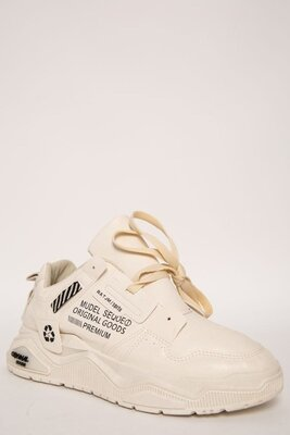 Кроссовки Мужские 129R181120-3 Цвет Бежевый,белый,черный