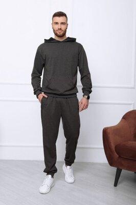 Мужской тёмно-серый спортивный костюм из трикотажа