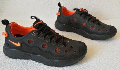 Nike кроссовки кожаные мужские дышащие с сеткой чёрные с серым