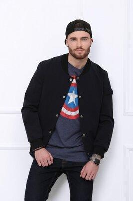 Мужская тёмно-синяя трикотажная лёгкая куртка-бомбер