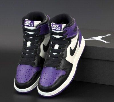 Мужские кроссовки Nike Air Jordan 1 Retro. Унисекс Violet Black White