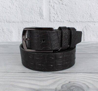Кожаный классический ремень maybik 15009-4 черный кроко 35 мм