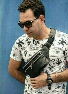 Мужская сумка на пояс с черной натуральной кожи tirso с кожаным ремнем