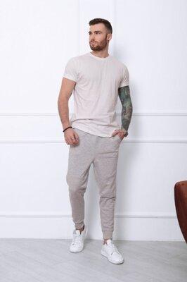 Светло-Серые трикотажные штаны с декоративными швами