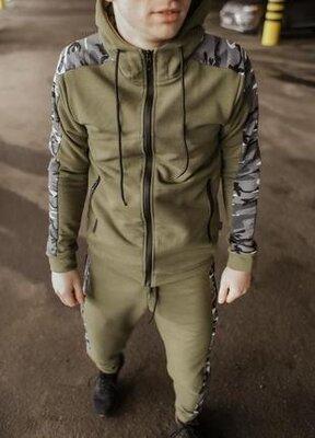 Мужская хлопковая спортивная кофта dazzle цвета хаки от intruder