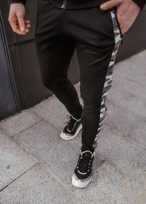 Мужские спортивные хлопковые повседневные штаны dazzle черного цвета от intruder