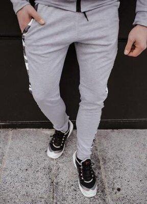 Мужские спортивные хлопковые повседневные штаны dazzle цвета серый меланж от intruder