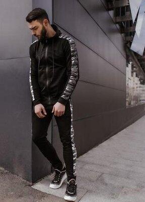 Мужской спортивный хлопковый повседневный костюм dazzle черного цвета от intruder