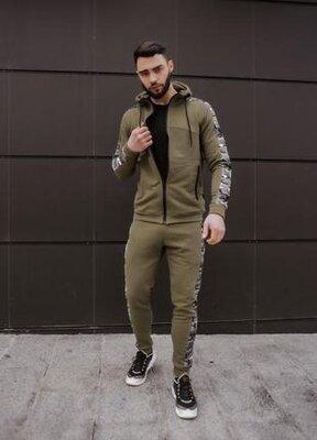 Мужской спортивный хлопковый повседневный костюм dazzle цвета хаки от intruder