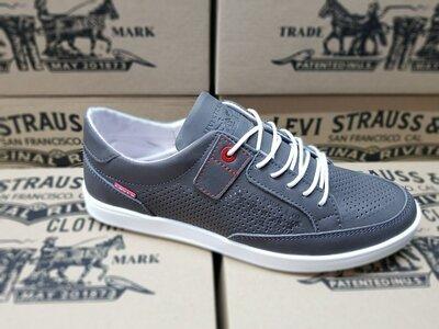 Кеды кроссовки мужские кожаные с перфорацией Levis California Grey