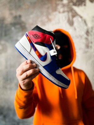 Мужские Кроссовки Nike Air Jordan 1 Mid Multi-color Swoosh AAA 40-41-42-43-44-45