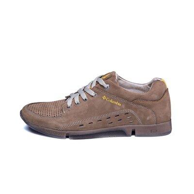 Мужские кожаные летние кроссовки, перфорация Columbia Latte 377
