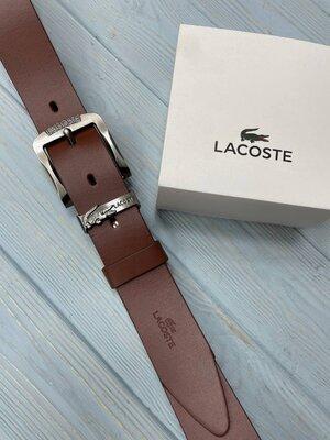 Кожаный мужской ремень Lacoste Лакост коричнево-рыжий цвет реплика