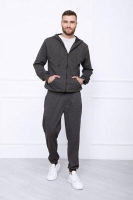 Тёмно-Серый однотонный мужской спортивный костюм из трикотажа