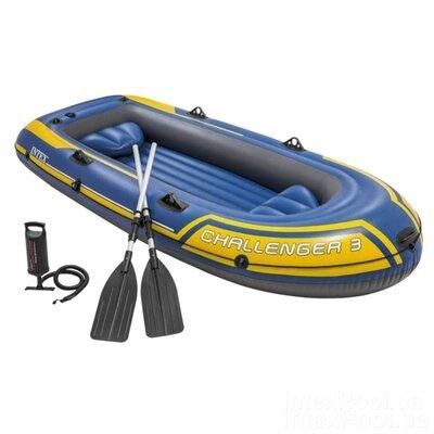 Трехместная надувная лодка Intex 68370 Challenger 3 Set, 295 х 137 см, с веслами и насосом