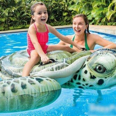 Детский надувной плотик для катания Intex 57555 «Черепаха», 191x170