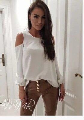 Женская модная блузка вырез на плечах 42-44,46-48,50-52р,9 цветов