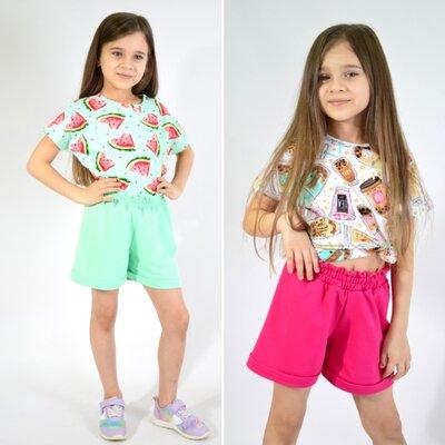 Костюм летний для девочки футболка и шорты хлопок