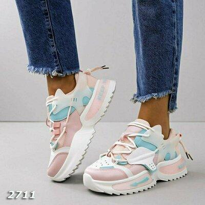 Кроссовки женские розовые голубые белые