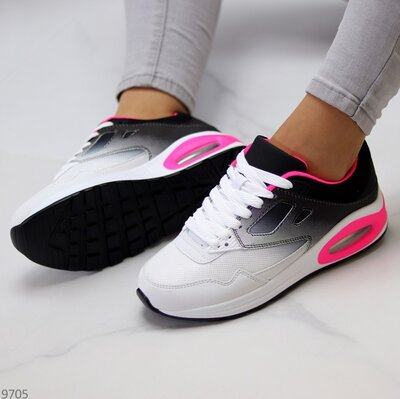 Женские белые чёрные кроссовки в стиле N