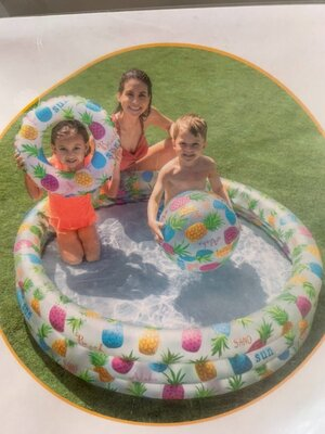 Детский надувной бассейн Intex «Ананас», 132 х 28 см, с мячиком и кругом