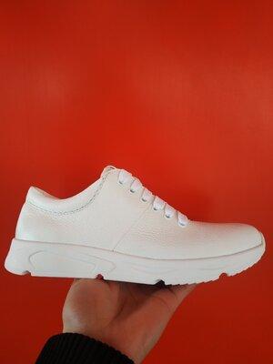 Кожаные белые женские кроссовки 36-41