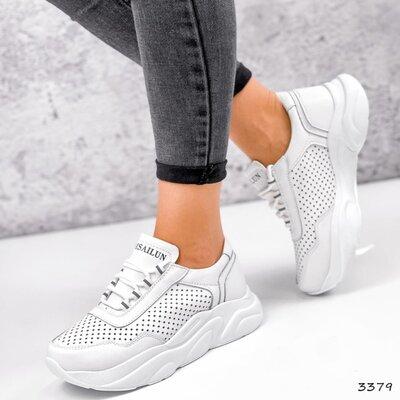 Белые кожаные женские кроссовки с перфорацией, кожаные кроссовки, кросівки білі 36-41р код 3379