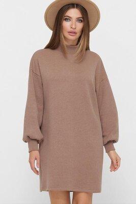Стильное платье цвета капучино M-XL