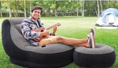 Велюровое надувное кресло, шезлонг, пуф 130 х 99 х 76 см, пуфик 64 х 28 см