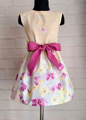 Платье для девочек на лето. детское платье нежно желто-голубого цвета. 110-146рр