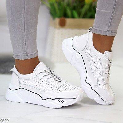Белые кожаные кроссовки с перфорацией, женские кожаные кроссовки, жіночі кросівки 36-41р код 9620