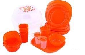 Набор пластиковой посуды для пикника 48 предметов, красный
