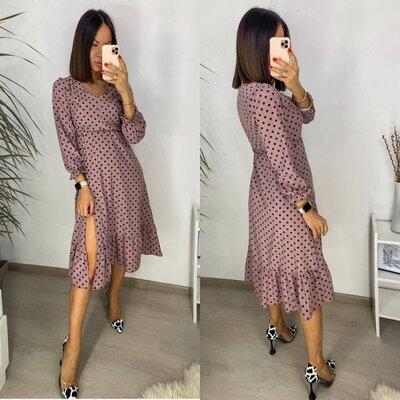 Стильное женское платье в горошек