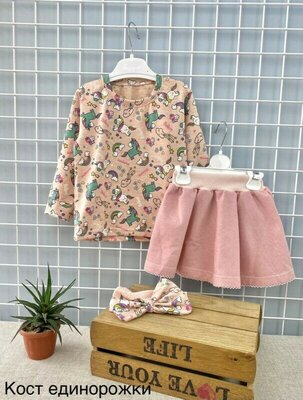Костюм для девочки реглан, юбка и повязка 98-116см