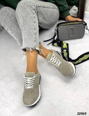 Женские натуральные замшевые кожаные серые белые бежевые чёрные кроссовки