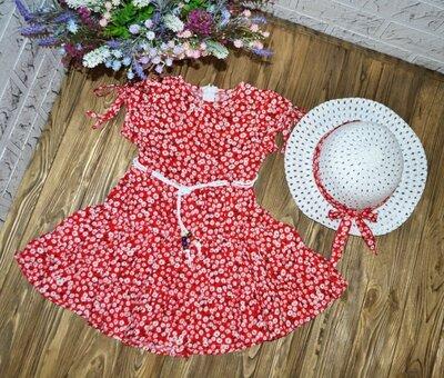 Стильное летнее платье на девочку со шляпой