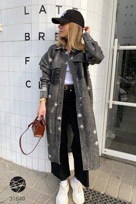 Женское длинное пальто-рубашка Жіноче довге пальто-сорочка