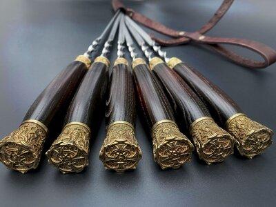 Продано: Шампуры Королевская охота в кожаном колчане 6шт