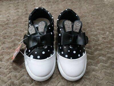 Модные слипоны туфельки для принцессы 14.5 см Кожаная стелька супинатор