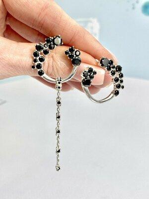 Женские серебряные серьги с фианитами, жіночі срібні сережки на подарунок сестрі подрузі