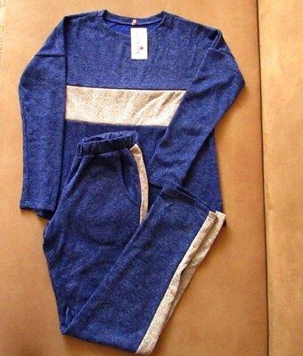 Женский трикотажный спортивный костюм, синий с люрексовыми вставками