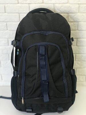 Рюкзак туристический VA T-02-3 65л, черный с синим