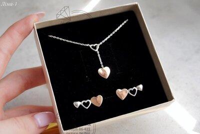 жіночий срібний набір сережки та кольє, серебряные серьги сердечка с серебряным кольэ