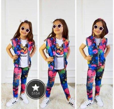Крутая новинка Спортивный костюм с жилеткой на девочку в стиле тай-дай, дитячий спортивний костюм