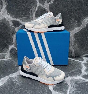 Женские Кроссовки Adidas Nite Jogger кожаные,белые,серые