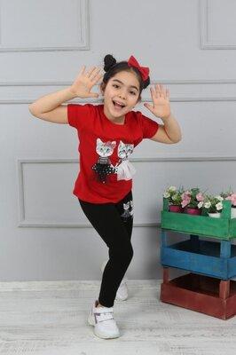 Летний костюм на девочку с обручем в комплекте, футболка и лосины для девочки