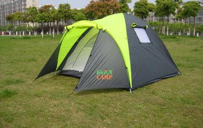 Трехместная легкая двухслойная классическая палатка с тамбуром Green Camp1011