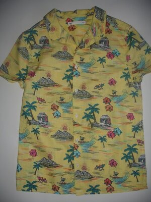 Фирменная m&s яркая нарядная рубашка мальчику 10-11 лет новая