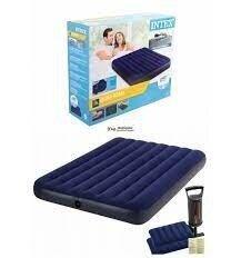 Велюровый надувной матрас Intex 64765 матрац с насосом, 2 подушками