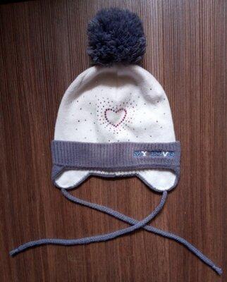 Серая демисезонная шапка alex-group для девочки 2-3 г